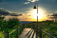 Light up the sky! Overlooking Northern Clearwater Beach Florida (Sonia Argenio Photography) Tags: clearwaterbeach clouds clearwater sky bluesky blue lampost sun landscape sagapalm palms walkway wood deck posts flickr flickrsoniasgallery photographer