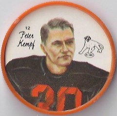 1964 Nalley's Potato Chips CFL Plastic Football Coin (type 2 back) - PETER KEMPF #12-N (British Columbia Lions / Canadian Football League) (Baseball Autographs Football Coins) Tags: 1964 nalleys football coins caps footballcoins footballcaps bclions britishcolumbialions edmontoneskimos calgarystampeders saskatchewanroughriders winnipegbluebombers blank back blankback cfl canadianfootballleague potatochips vintage type1 type2 errorback peterkempf