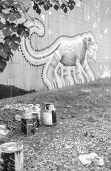 2016-10-24-0007 (alexdotbarber) Tags: 1500 35mm behrpaint hue huemuralfestival houston houstonurbanexperiencemuralfestival ilforddelta100 voigtlanderbessar3a voigtlandernoktonclassic40mmf14 blackandwhite bokeh f2 jaguar mural paintcan rangefinder streetart