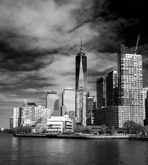 View from East River (mdavies149) Tags: newyork blackandwhite bw america usa manhattan eastriver water lowermanhattan river monochrome skyscrapers michaeldavies nikon d600