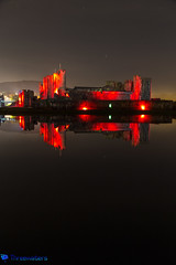 Caerphilly Castle Poppy (Stevehughes1250) Tags: caerphilly caerphillycastle caerfilli moat drawbridge castle southwales red reflection night poppies remembrance sunday