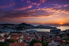Babin Kuk sundown (snowyturner) Tags: croatia dubrovnik sunset buildings rooftops sky landscape adriatic ships bay