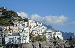 Italy (Amalfi) Magnificient view of Amalfi buildings overlooking the sea