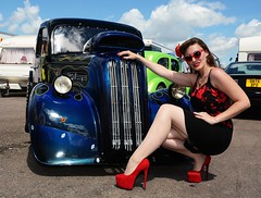Holly_7368 (Fast an' Bulbous) Tags: ford pop popular fordson van custom car vehicle automobile people outdor outlawanglia drag strip race track santa pod england summer girl woman hot sexy chick babe model pinup long brunette hair dress wiggle skirt seamed stockings high heels shoes red black legs pose fast speed power pits sunglasses