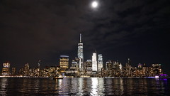 City Lights (Bhargav Kesavan) Tags: exchange place newyorkcity newjersey exchangeplace usa buildings skyscrapper skyscrapperview oneworldobservatory citylights buildinglightsview moon clouds sky