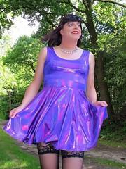 Shiny purple (Paula Satijn) Tags: sexy hot girl gurl dress skirt minidress miniskirt purple shiny metallic stockings tgirl transvestite forest outside free smile path summer stockingtops lace spandex
