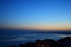 Blue Hour / La  hora azul (suominensde) Tags: stilness andaluca espaa outdoor sky cielo moon luna star estrella shore water waterscape seascape coast costa landscape paisaje seaside spain andalucia nikond5300 light night noche serene sereno blue azul sunset atardecer ocaso crepsculo twilight