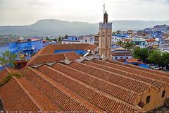 Roof of Masjid at main square of Uta el Hammam (T Ξ Ξ J Ξ) Tags: morocco chefchaouen sefasawan d750 nikkor teeje nikon2470mmf28 blue city kasbah