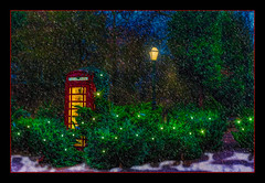A Christmas Box (Kevin, from Manchester) Tags: telephone redtelephonebox snow trees lamp christmas kevinwalker hdr canon1855mm art delamere photoborder phonebox