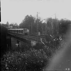 The train comes (willdmo) Tags: carlzeissbiotar40mmf2 december dominiksamol efke50 iloveu4com robot2 singlechallanges stuttgart expiredfilm people streetart