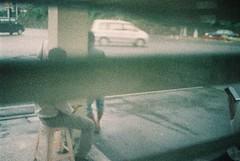 (埃德溫 ourutopia) Tags: film adox colorimplosion 100 minolta himatic af filmphotography analog analogphotography expiredfilm guy man seat sit busstop door window nanfangao フィルム