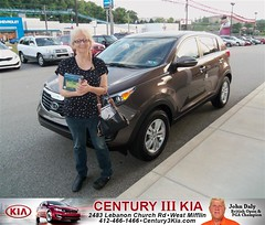 Century 3 Kia would like to say Congratulations to Denise Orlovsky on the 2012 Kia Sportage from Travis Miller (Century 3 KIA) Tags: new 3 west car century sedan truck wagon happy pittsburgh pennsylvania used vehicles pa delivery bday kia van minivan suv coupe dealership hatchback dealer customers mifflin shoutout 4dr 2dr preowned