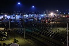 San Diego Trolley Rail Yard (sdfilmfan) Tags: bridge light night train bay lowlight streetlight san quiet nightscape diego rail transit coronado gleaming sdfilmfan