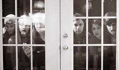 74/100 (Mary Jo.) Tags: friends blackandwhite bw window canon rebel 50mm funny faces mj creepy xs f18 maryjo 74100 100daysofsummer