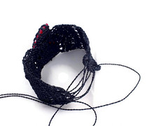 Upper Arm Bracelet crochet from black thread and red shiva eye shell (AmorArt crochet jewelry) Tags: red black eye thread arm ooak crochet band upper bracelet statement friendly cuff shiva slave ecofriendly gemstonejewelry armlet amorart