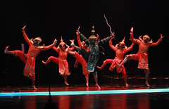 (Center) Luis Avila (Simon of Legree) and ensemble in The King and I produced by Music Circus at the Wells Fargo Pavilion August 6-11, 2013. Photo by Charr Crail.