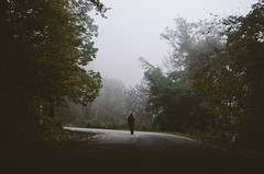 In the woods... III (Andrea Settanni) Tags: road autumn trees light shadow italy tree leaves fog forest 35mm landscape person woods nikon italia cloudy foggy rainy tuscany nikkor f18 toscana filmgrain filmlook ishootraw vsco filmemulation f18g d5100 nikkor35mmf18g afsdxnikkor35mmf18g landscapephotgraphy blinkagain nikond5100 vscofilm andreasettanni