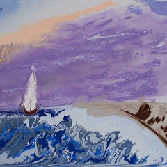 Sailing into a purple sunrise - Abstract Poured Painting (stephene2) Tags: abstractseascape abstractbutterflies abstractpouredpainting abstractpouredpaintings