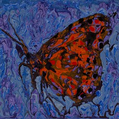 Hanging on in the rain - Abstract Poured Painting (danialjohn348) Tags: abstractseascape abstractbutterflies abstractpouredpainting abstractpouredpaintings