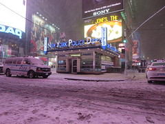 NYPD New York Police Dept station in Times Square, New York City, USA during winter snow storm (RYANISLAND) Tags: nyc newyorkcity usa snow ny newyork storm cold weather america 14 snowstorm freezing american timessquare snowing storms wintersnow coldweather northeast extremeweather winterstorm noreaster winterweather 2014 snowstorms weatherstorm winterstormhercules