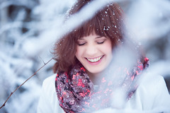 Laura's beautiful smile (Barry_Madden) Tags: trees winter woman snow cold smile smiling scarf suomi finland snowflakes freezing shorthair eyesclosed talvi bushes youngwoman brownhair finnishwoman