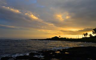 Sunset On Black Sand Beach