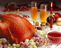 mesasul5 (Mesasul 2014) Tags: christmas red food dinner turkey foods succulent perfect holidays candle pair tasty newyear roast gourmet grapes tables newyears studioshot festivity roasted horizontals luxurymeal candygrapes cranberriesauce