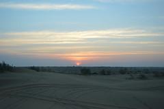 Sunset Scene  (Rajasthan, India) (OceanThakur) Tags: sunset red sky orange sun nature clouds landscape sand desert natural dunes peaceful bushes