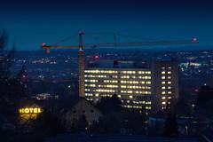 Herforder Klinikum (Fotasca) Tags: night lights construction crane herford klinikum krankenhaus blut blauestunde strase vlothoer