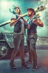 Tank Girl Themed Idiots (Dracorubio) Tags: friends people photoshop tank idiots
