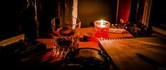 Tant de nuits (Alexandre LAVIGNE) Tags: photography photo notes pentax tabac alcool bible bourbon nuit tob bougie verre ambiance wisky carnet stylo cendrier lueur gitanes pentaxk20d louisengival smcpentaxda1281650mmedalifsdm exutoires format235