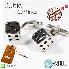 Cubic Cufflinks - คัฟลิงค์ (กระดุมข้อมือ) ลูกเต๋า ผลิตจาก ทองเหลืองชุบเงิน แวววาว พร้อม Gift Boxed