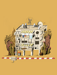 Israeli Real Estate (Noamweiner) Tags: roof building illustration cat real telaviv estate walk side palm business marker editorial ac haaretz