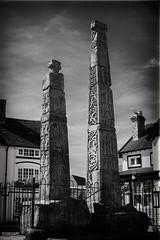 Saxon crosses (ammgramm) Tags: uk england bw white black monument stone 35mm blackwhite cheshire decoration crosses naturallight carving saxon sandbach xpro1 fujifilmxpro1 fujinon35mmf14r