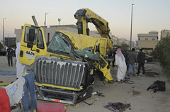An Egyptian driving a garbage truck loaded with explosives and Islamic State papers rammed into a truck carrying five U.S. soldiers in Kuwait on Saturday, injuring only himself in the attack, authorities said. (karo4greatness) Tags: kuwait kwt