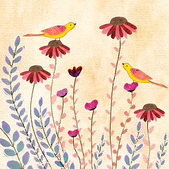 Bird and Flower Painting Good Morning by Sascalia (sascalia) Tags: flowerpainting floralpainting flowerart floralart birdpainting birdart collagepainting