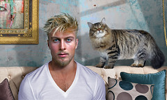 Glamour portrait (irestless) Tags: glamour portrait cat ladybug body beard blonde blue chest colors color face neck model eye eyes men fly friend friends hairy hair shadows irestless lips light look man models muscles male moustache uomo sofa white