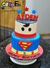 Superman cake (bsheridan1959) Tags: supermancake birthdaycake kidscake charactercake cake fondant marshmallowfondant tieredcake twotiers superman stars cakesforfun