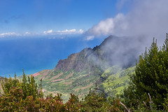 From High Above (AgarwalArun) Tags: sonya7m2 sonyilce7m2 hawaii kauai island landscape scenic nature views mountain fog clouds kalalaulookout puuokilalookout napalicoast pacificocean ocean water waves surf napali ruggedcoastline cliffs