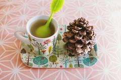 Tea time. (Hello i'm Wild !) Tags: analog film 35mm canonae1 home light bokeh dof colors tea teatime pinecone patterns lomographycolornegative400