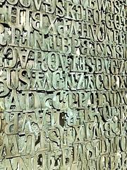 Plinth - detail (notredamepublicart) Tags: houstondavidlobdell indiana plinth publicart rileyhall lettes metal outdoors sculpture text