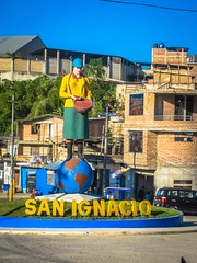 A welcoming traffic circle on the edge of San Ignacio.