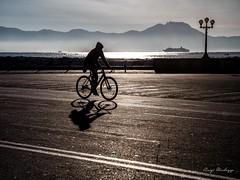 ombre nelle luci (luigi ricchezza) Tags: bicicletta bike caracciolo luci lungomare mare naples napoli ombre sea sky street