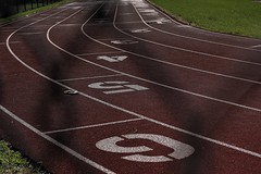 When Does My Race End? (KC Mike D.) Tags: lines curves race track running counterclock numbers fence chain meters length racetrack