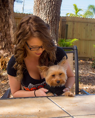 Kalli and Zoey (192) (BuccaneerBoy) Tags: yorkie yorkshireterrier puppy dog woman girl female hooters hooterscalendargirl florida clearwater largo seminole stpetersburg model beautiful lovely fun family fall autumn november