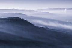 Blue Peaks (l4ts) Tags: landscape derbyshire peakdistrict darkpeak derwentvalley curbaredge baslowedge mist smoke cyanotype