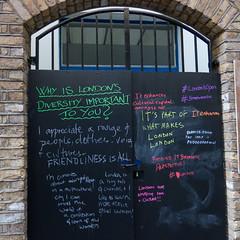 Why Is London's Diversity So Important To You? (cocabeenslinky) Tags: streetart graffiti east eastend london city capital england united kingdom uk street art artist artiste graff urban photos photography panasonic lumix dmcg6 cocabeenslinky december 2016 why is londons diversity so important to you scribble chalk colours doors locked