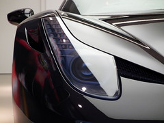 Ferrari 458 Spider (bm pdisk) Tags: uk light england snow black london rain shop grey spider overcast ferrari led showroom headlight 458 2013 tumblr hrowen kenjonbro fujifilmfinepixhs10 hrowenferrariatelier