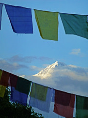 Himalayas and Prayer Flags, Pokhara (jonhuskisson) Tags: travel nepal sky mountain worship asia buddhist prayer peak buddhism flags backpacking prayerflags pokhara himalayas placeofworship