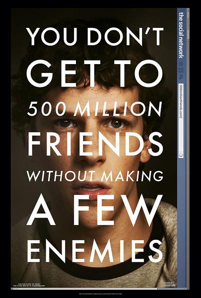 《社交网络 The Social Network》。 影片的故事原型来源于网站facebook的创始人Mark Zuckerberg和Eduardo Saverin。